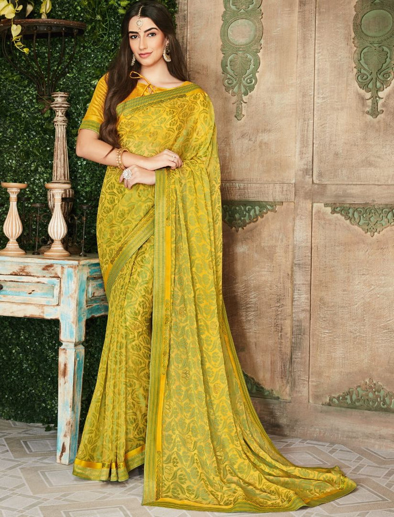 Yellow & Green Color Brasso Beautiful Kitty Party Sarees NYF-4414