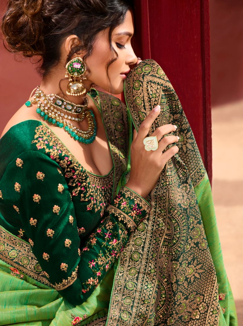 Leaf Green Color Raw Silk Classic Designer Sarees NYF-4969