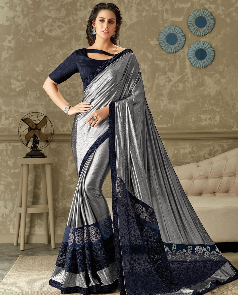 Silver Color Lycra Designer Festive Sarees : Yashvita Collection  NYF-1632 - YellowFashion.in