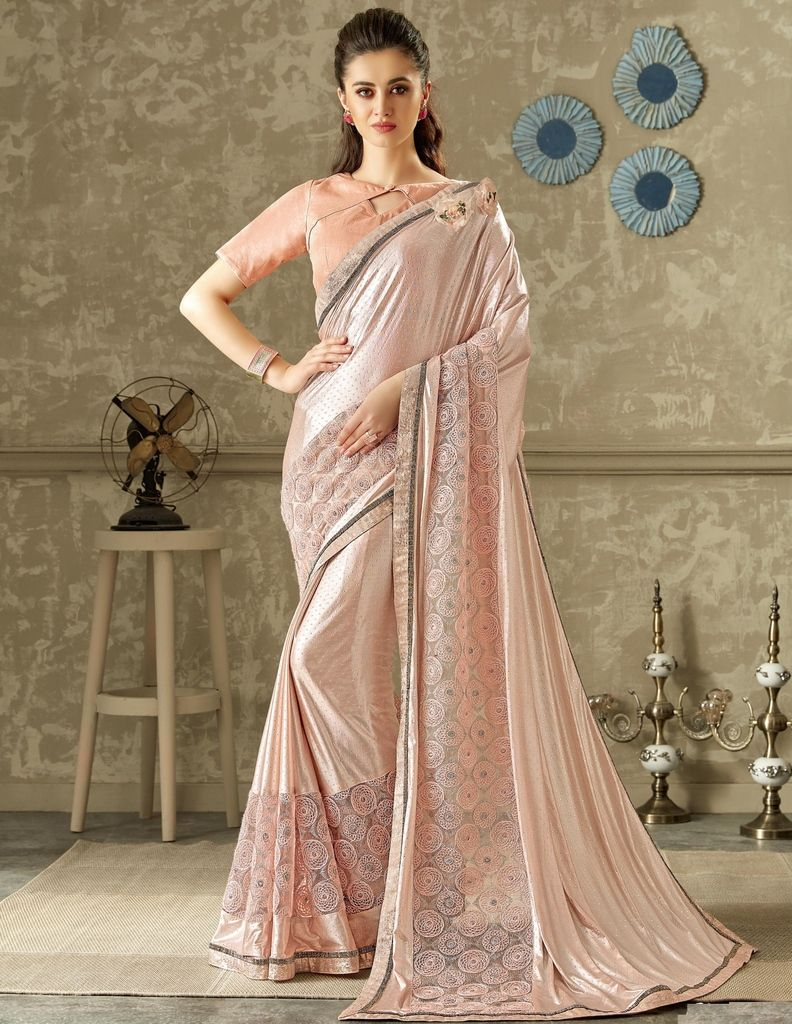 Baby Pink Color Lycra Designer Festive Sarees : Yashvita Collection  NYF-1634 - YellowFashion.in