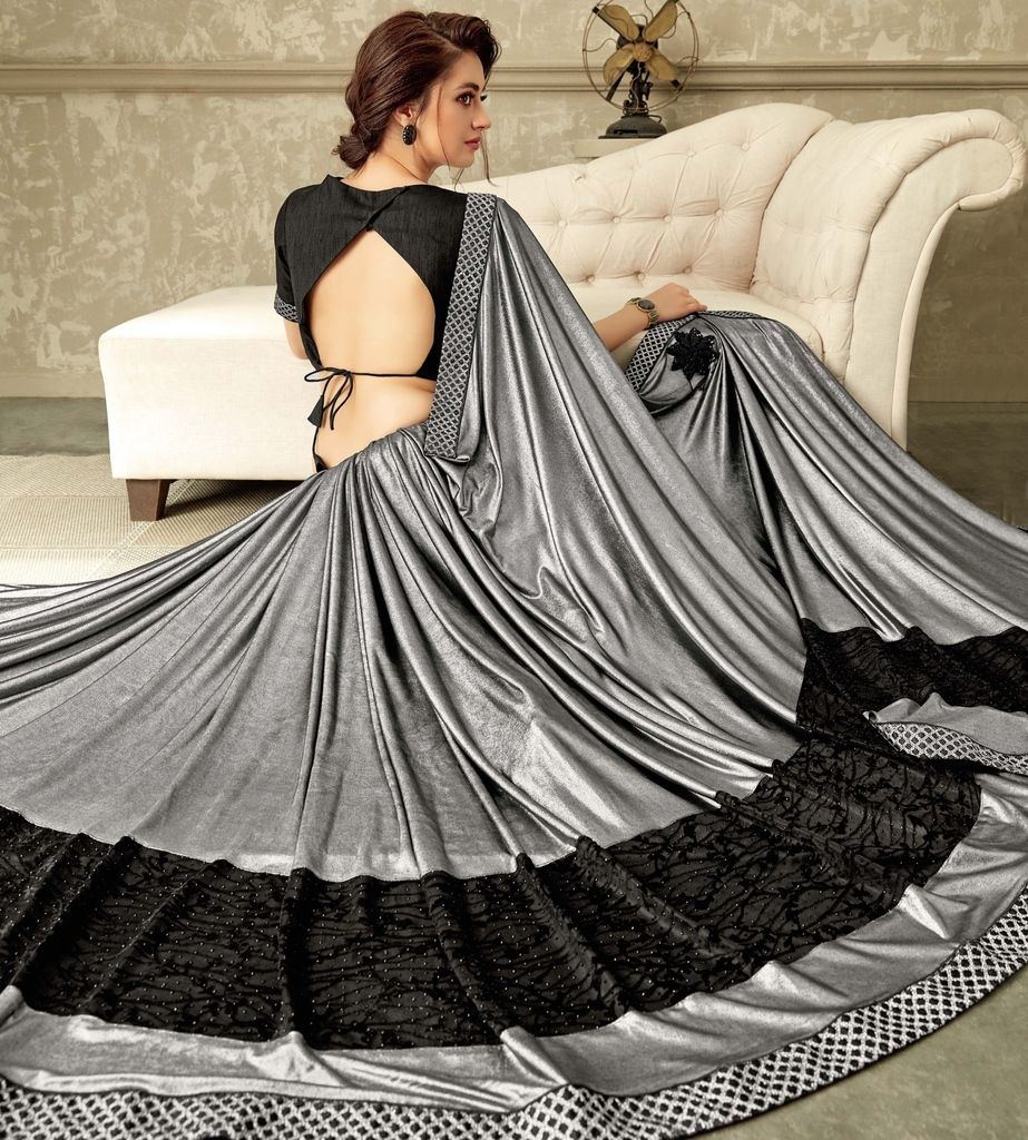 Grey Color Lycra Designer Festive Sarees : Yashvita Collection  NYF-1636 - YellowFashion.in