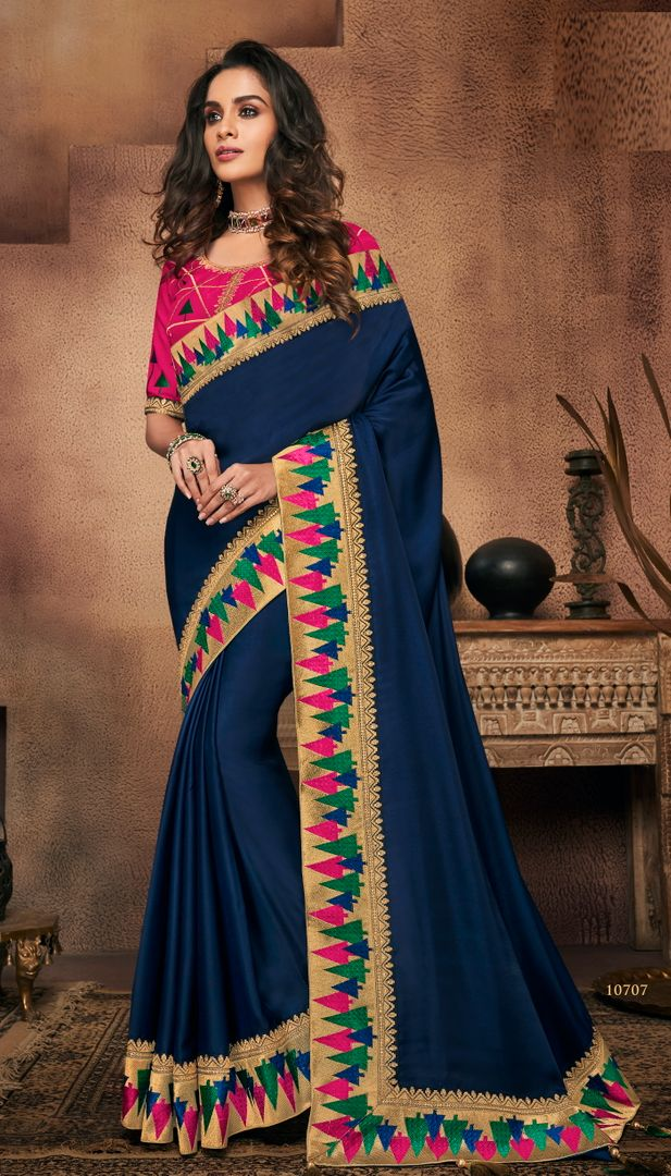 Blue Color Raw Silk Designer Party Wear Sarees : Suruchi Collection  NYF-3271 - YellowFashion.in