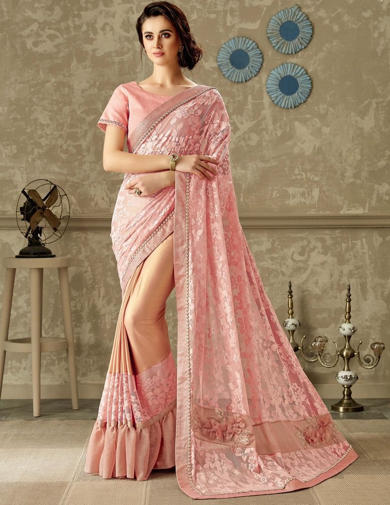 Pink Color Tissue Designer Festive Sarees : Yashvita Collection  NYF-1637 - YellowFashion.in