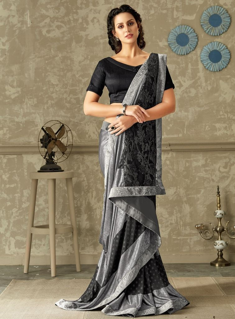 Grey Color Lycra Designer Festive Sarees : Yashvita Collection  NYF-1638 - YellowFashion.in