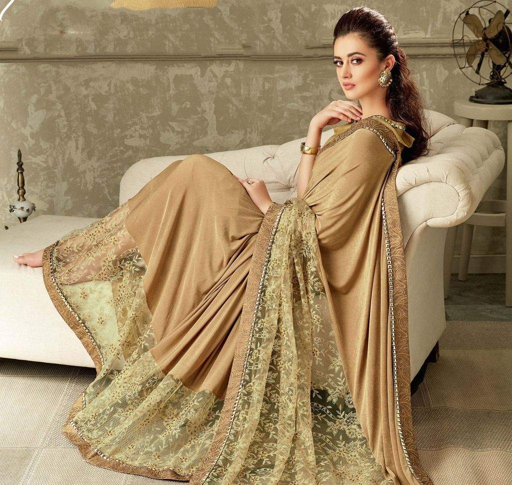 Light Coffee Color Two Tone Silk Designer Festive Sarees : Yashvita Collection  NYF-1639 - YellowFashion.in