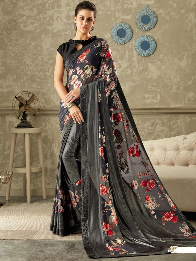 Grey Color Lycra Designer Festive Sarees : Yashvita Collection  NYF-1640 - YellowFashion.in
