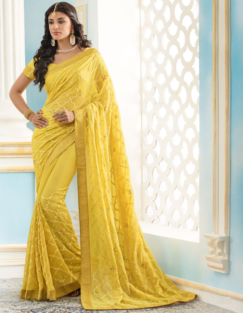 Yellow Color Chiffon Party & Function Wear Sarees : Abhima Collection  NYF-2351 - YellowFashion.in