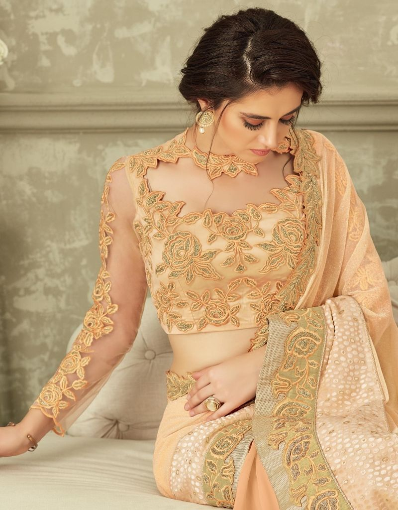 Light Peach Color Fancy Net Designer Festive Sarees : Yashvita Collection  NYF-1641 - YellowFashion.in