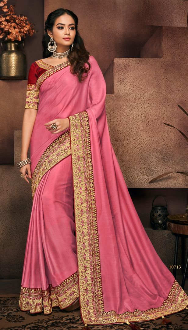 Pink Color Raw Silk Designer Party Wear Sarees : Suruchi Collection  NYF-3272 - YellowFashion.in