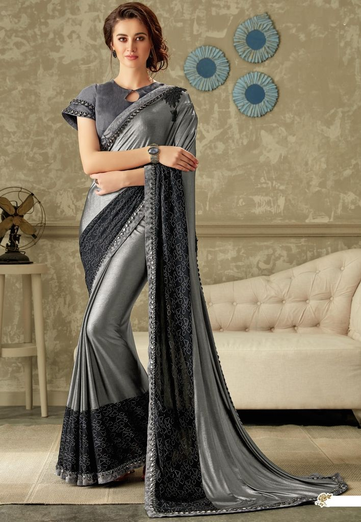 Grey Color Two Tone Silk Designer Festive Sarees : Yashvita Collection  NYF-1643 - YellowFashion.in