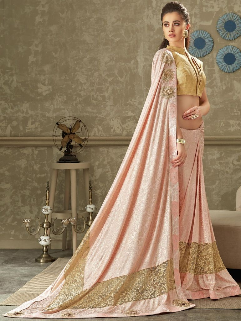 Pink Color Lycra Designer Festive Sarees : Yashvita Collection  NYF-1644 - YellowFashion.in