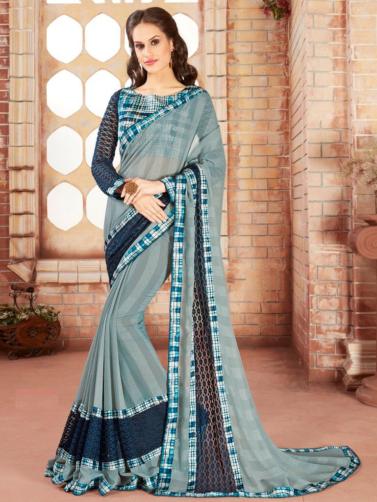 Grey Color Chiffon Designer Festive Sarees : Preyashi Collection  NYF-1280 - YellowFashion.in