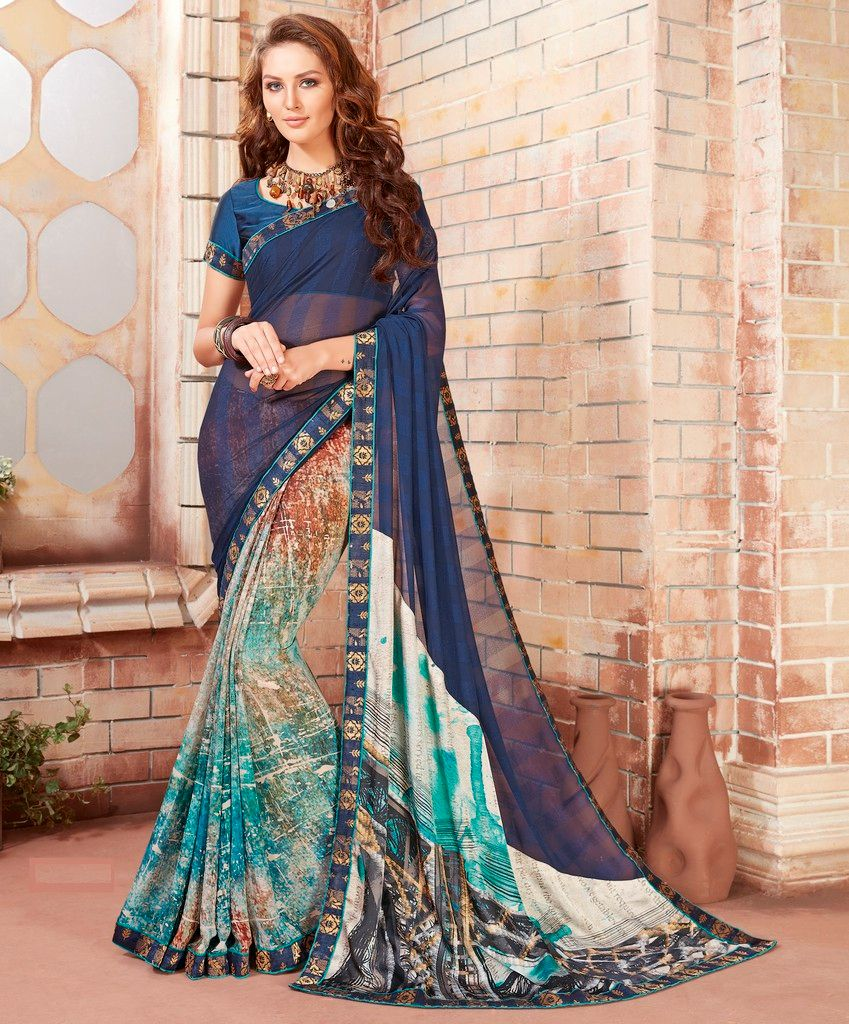 Blue Color Georgette Designer Festive Sarees : Preyashi Collection  NYF-1281 - YellowFashion.in