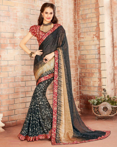 Dark Grey Color Georgette Designer Festive Sarees : Preyashi Collection  NYF-1282