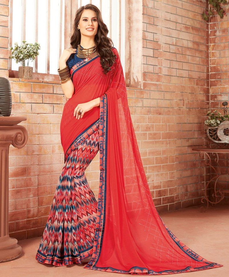 Red & Blue Color Georgette Designer Festive Sarees : Preyashi Collection  NYF-1283 - YellowFashion.in