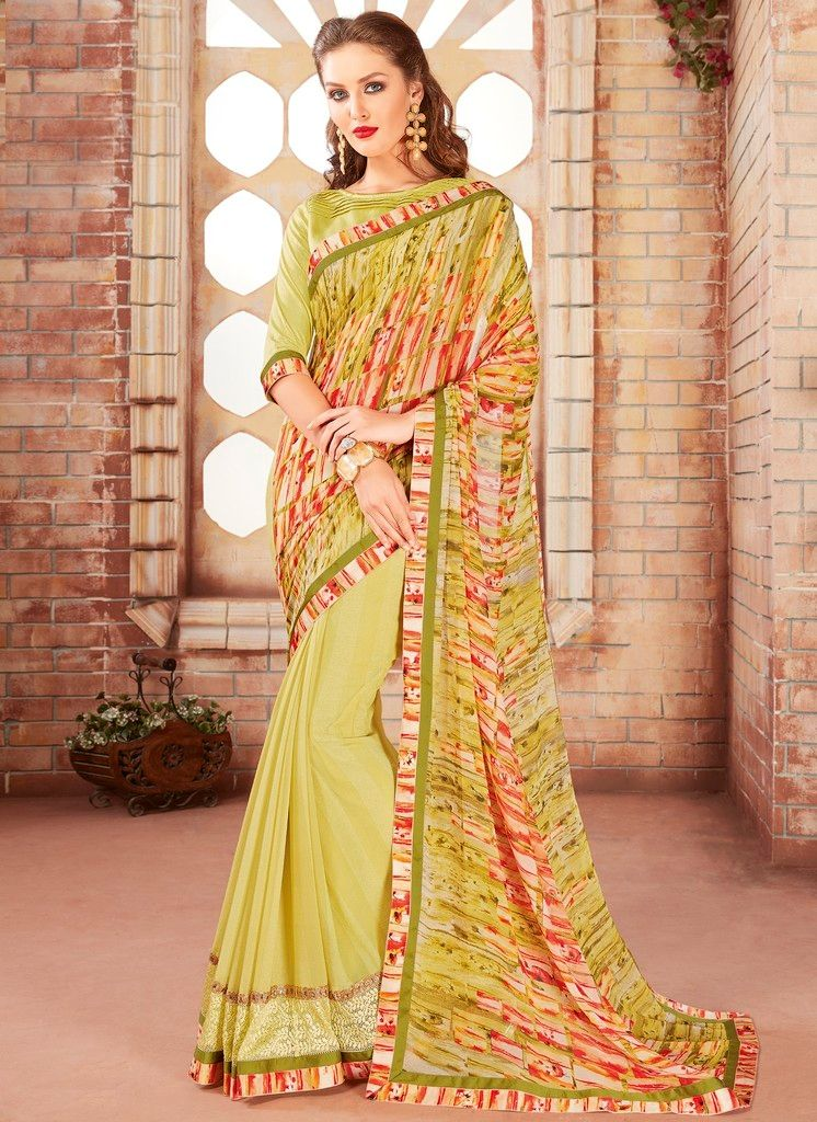Light Parrot Green Color Chiffon Designer Festive Sarees : Preyashi Collection  NYF-1284 - YellowFashion.in