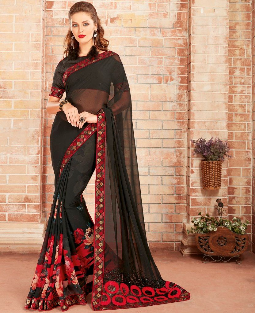 Black Color Georgette Designer Festive Sarees : Preyashi Collection  NYF-1285 - YellowFashion.in