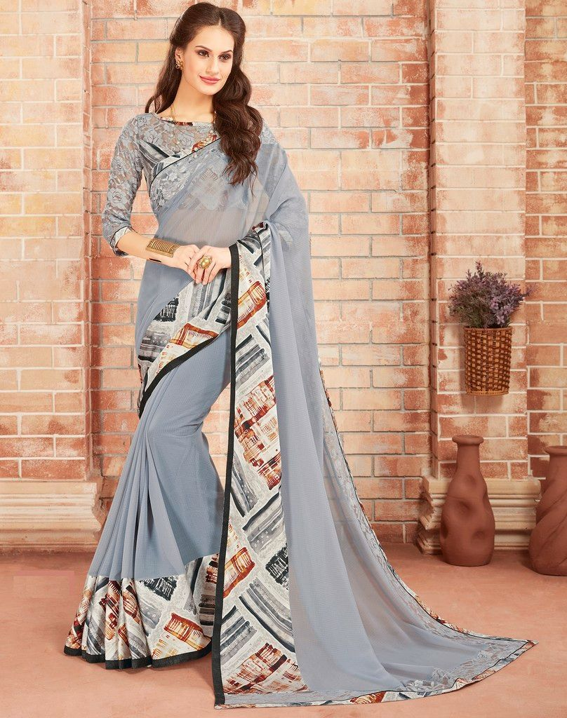 Grey Color Chiffon Designer Festive Sarees : Preyashi Collection  NYF-1287 - YellowFashion.in