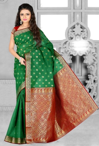 Green & Red Color Art Silk Casual Wear Sarees : Dhir Collection  YF-31537