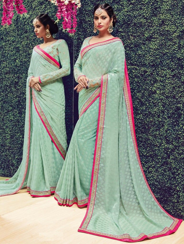 Aqua Green Color Chiffon Designer Festive Sarees : Preyashi Collection  NYF-1290 - YellowFashion.in