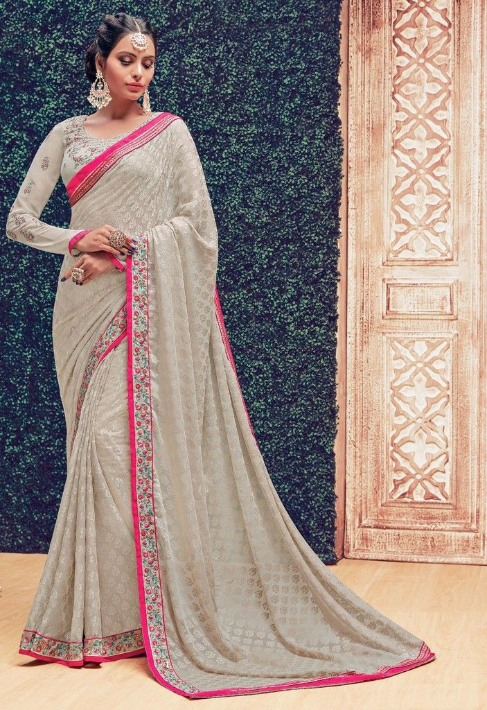 Grey Color Chiffon Designer Festive Sarees : Preyashi Collection  NYF-1291 - YellowFashion.in