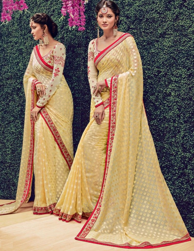 Yellow Color Chiffon Designer Festive Sarees : Preyashi Collection  NYF-1292 - YellowFashion.in
