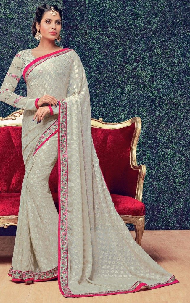 Grey Color Chiffon Designer Festive Sarees : Preyashi Collection  NYF-1293 - YellowFashion.in