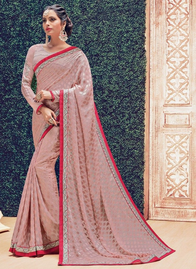 Peach Color Chiffon Designer Festive Sarees : Preyashi Collection  NYF-1294 - YellowFashion.in