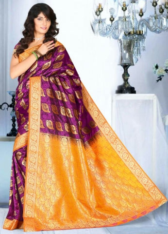 Magenta & Yellow Color Art Silk Casual Wear Sarees : Dhir Collection  YF-31539
