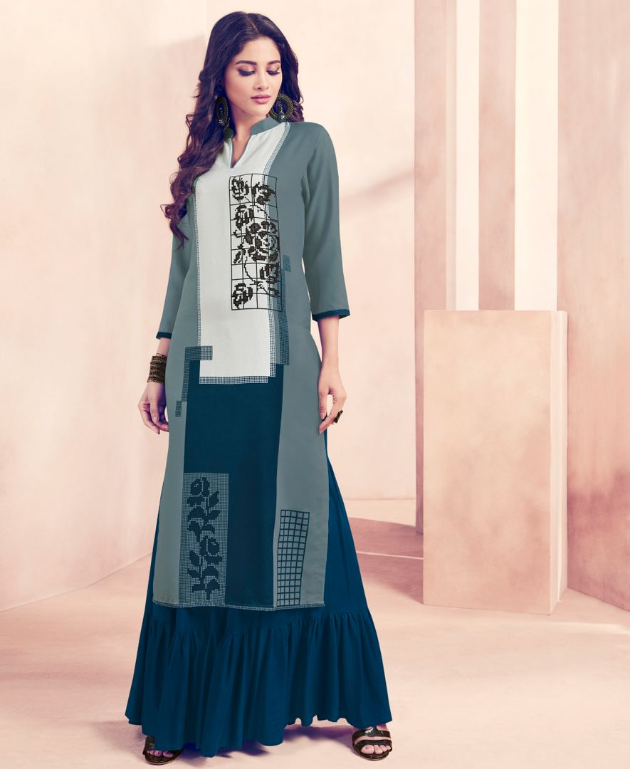Bluish Grey Color Rayon Beautiful Kurti With Bottom NYF-4747