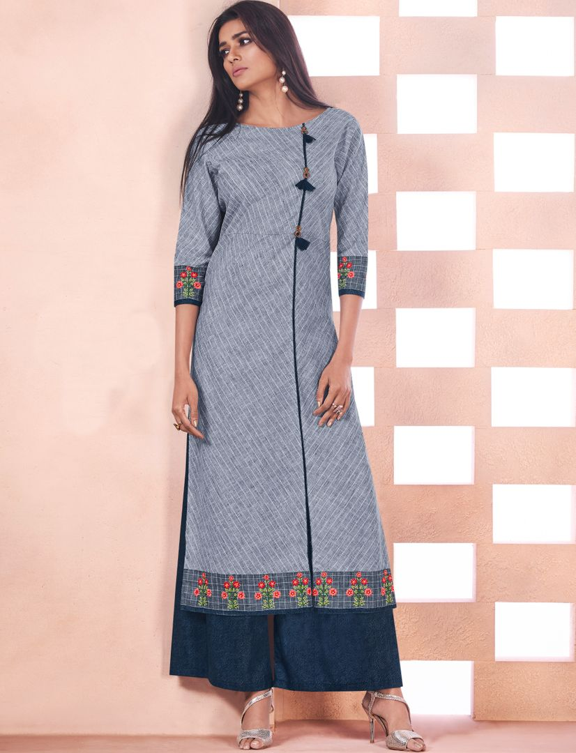 Grey Color Weaving Cotton Casual Long Kurtis NYF-4795