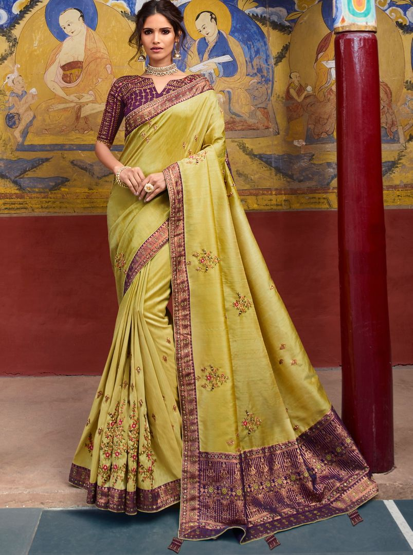 Lime Yellow Color Raw Silk Classic Designer Sarees NYF-4970