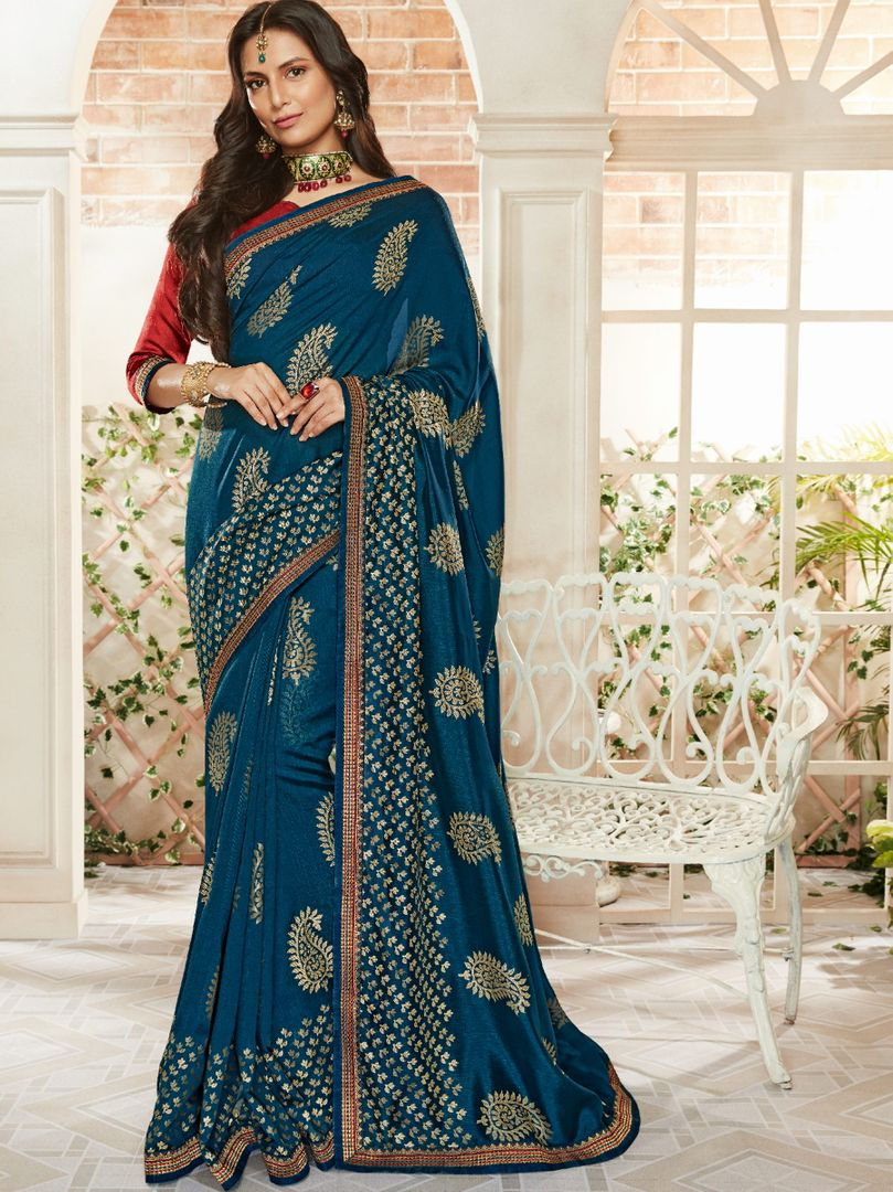 Blue Color Brasso Beautiful Kitty Party Sarees NYF-4415