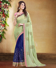 Pastel Green & Blue Color Half Chiffon & Half Net Designer Party Wear Sarees : Rudrani Collection  YF-57124