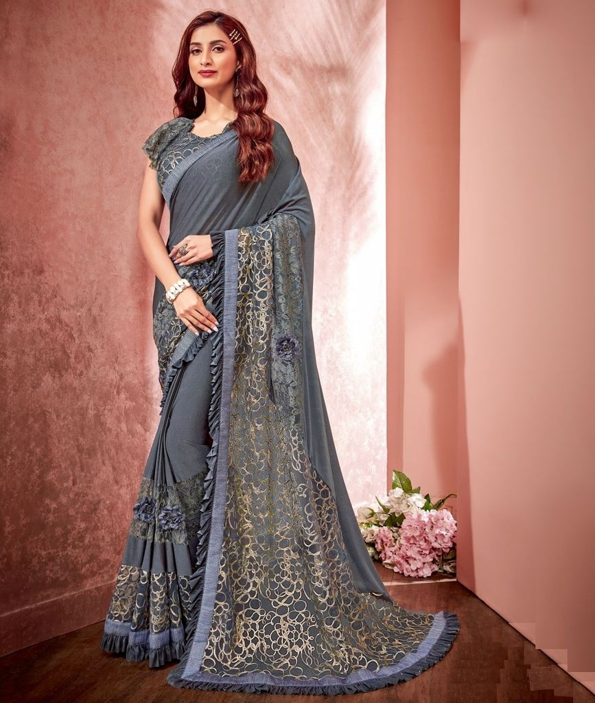 Grey Color Half Tissue Net & Half Georgette Designer Festive Sarees : Jugni Collection  NYF-1583 - YellowFashion.in