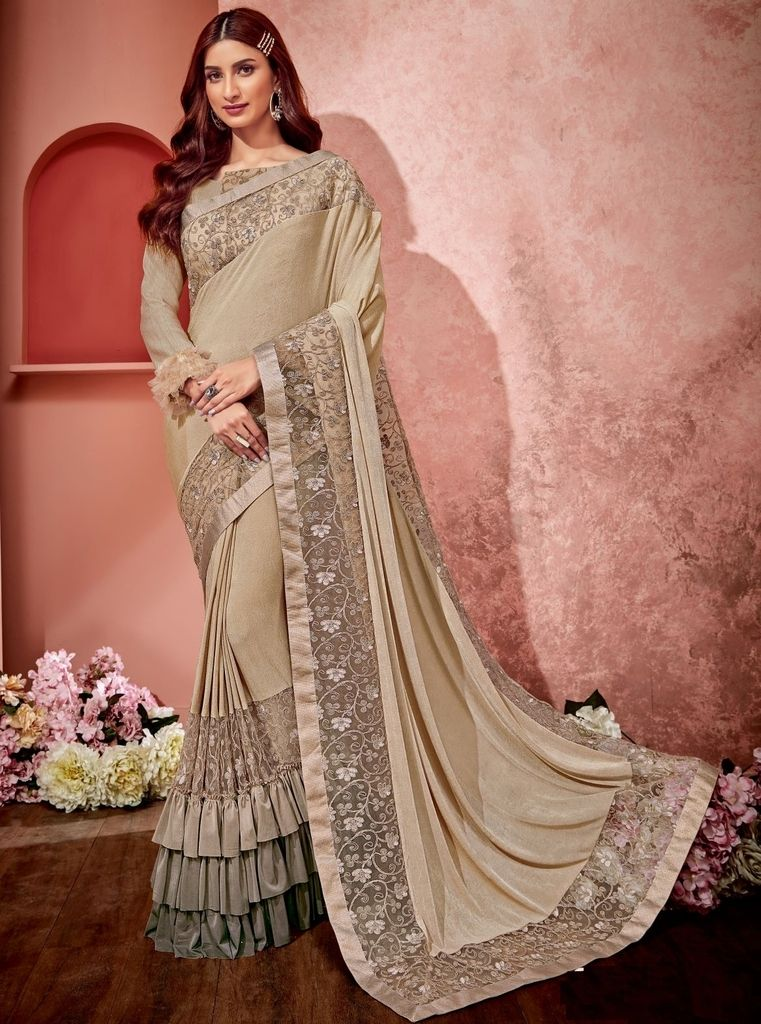 Cream Color Half Tissue Net & Half Fancy Material Designer Festive Sarees : Jugni Collection  NYF-1585 - YellowFashion.in