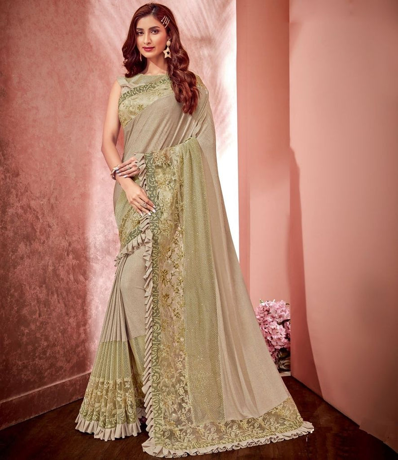 Cream Color Fancy Material Designer Festive Sarees : Jugni Collection  NYF-1587 - YellowFashion.in