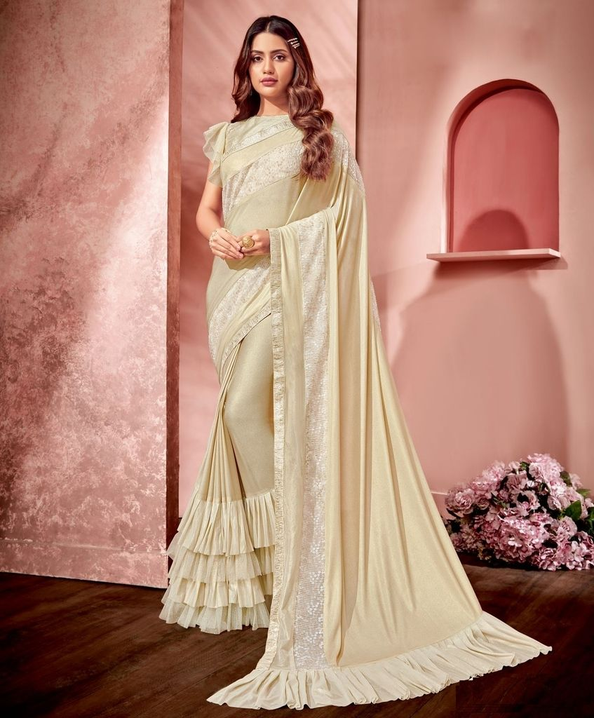Cream Color Fancy Material Designer Festive Sarees : Jugni Collection  NYF-1590 - YellowFashion.in