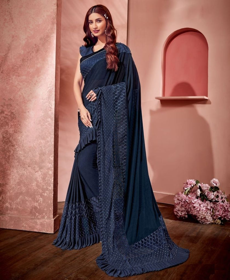 Blue Color Fancy Material Designer Festive Sarees : Jugni Collection  NYF-1591 - YellowFashion.in