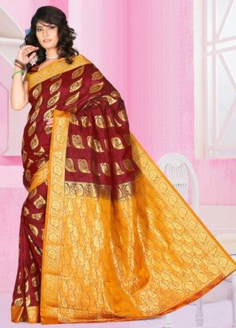 Maroon & Yellow Color Art Silk Casual Wear Sarees : Dhir Collection  YF-31540