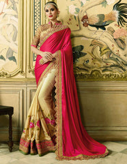 Light Coffee & Pink Color Silk Designer Wedding Function Sarees : Rhutvi Collection  YF-57518