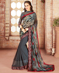 Grey & Red Color Georgette Party Wear Sarees : Varnit Collection  YF-57558