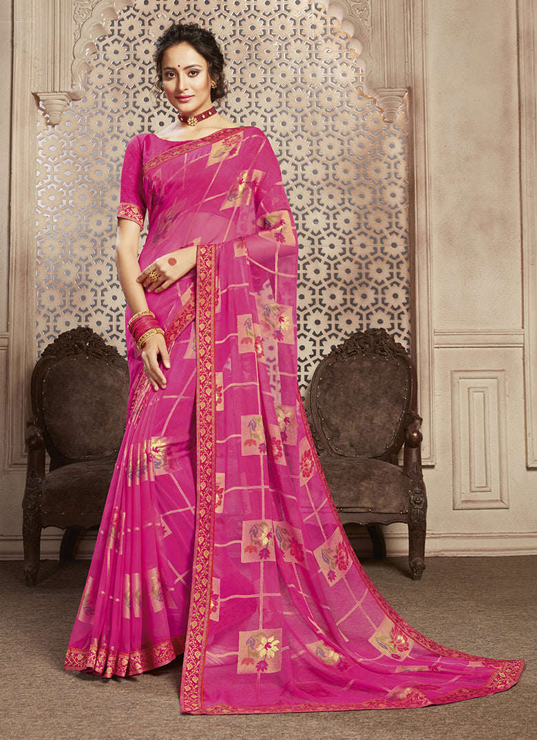 Pink Color Georgette Brasso Festive Sarees NYF-8416