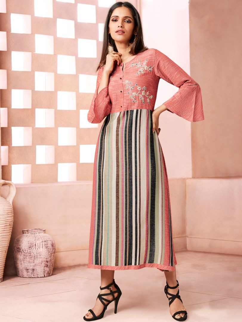 Peach Color Weaving Cotton Casual Long Kurtis NYF-4801