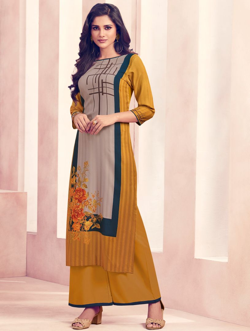 Mustard Yellow Color Rayon Beautiful Kurti With Bottom NYF-4753