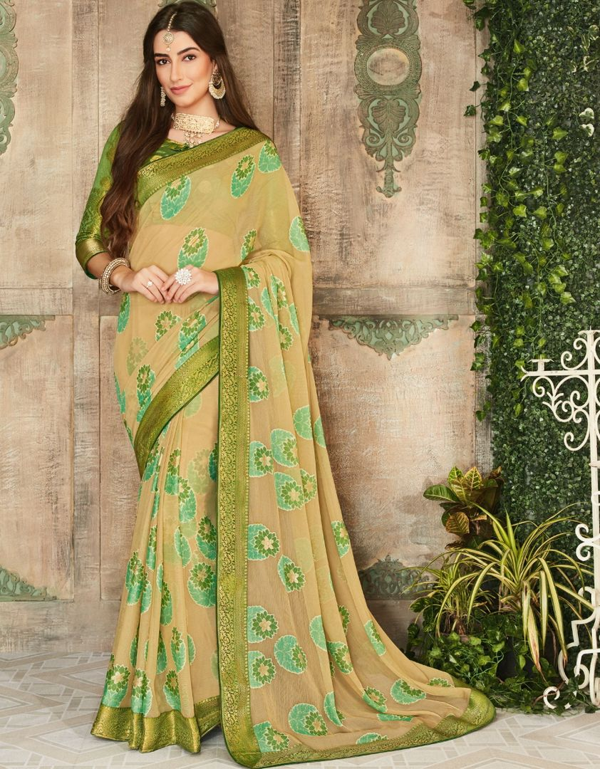Cream Color Brasso Beautiful Kitty Party Sarees NYF-4416