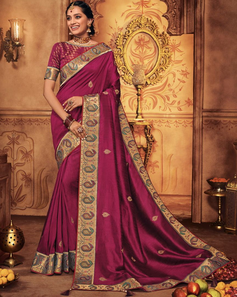 Magenta Color Raw Silk Stunning Occasion Wear Sarees NYF-4451