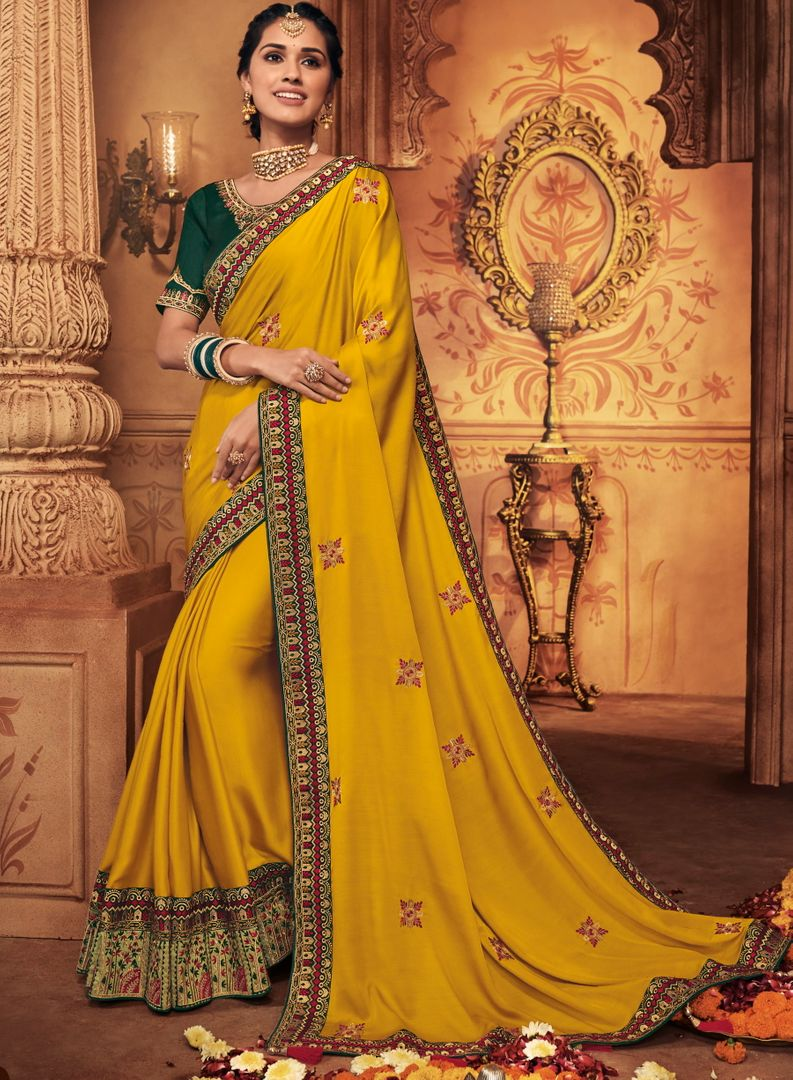 Yellow Color Crepe Silk Stunning Occasion Wear Sarees NYF-4452