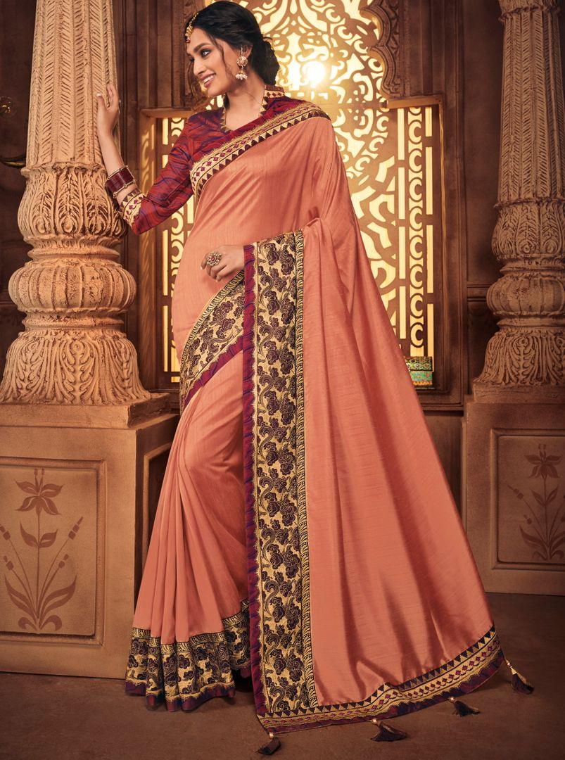 Peach Color Raw Silk Stunning Occasion Wear Sarees NYF-4453