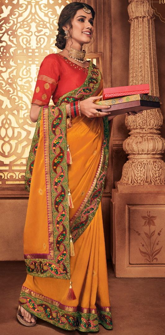 Orange Color Raw Silk Stunning Occasion Wear Sarees NYF-4454
